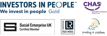 Five Rivers Accreditations: Investors in People, Social Enterprise UK, ISO 9001, Investing in Children and Chas Accredited
